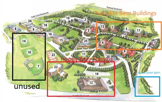 Proposed Campus Map, golf carts provided to avoid prolonged ambulation