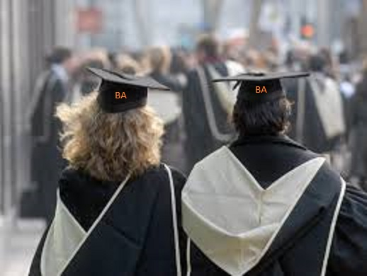 Picture above: hypothetical photo of two proud graduates